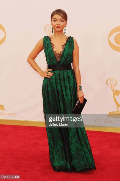 Actress Sarah Hyland arrives at the 65th Annual Primetime Emmy Awards at Nokia Theatre LA Live on September 22 2013 in Los Angeles California