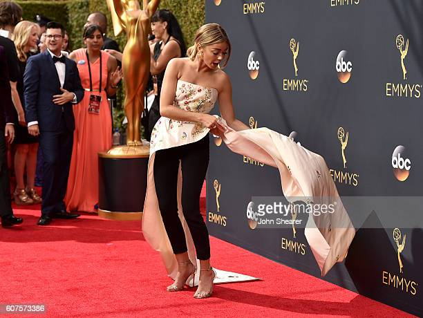 Actress Sarah Hyland arrives at the 68th Annual Primetime Emmy Awards at Microsoft Theater on September 18 2016 in Los Angeles California