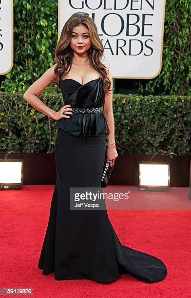 Actress Sarah Hyland arrives at the 70th Annual Golden Globe Awards held at The Beverly Hilton Hotel on January 13 2013 in Beverly Hills California