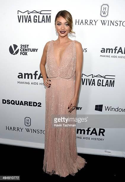 Actress Sarah Hyland arrives at the amfAR Inspiration Gala at Milk Studios on October 29 2015 in Hollywood California