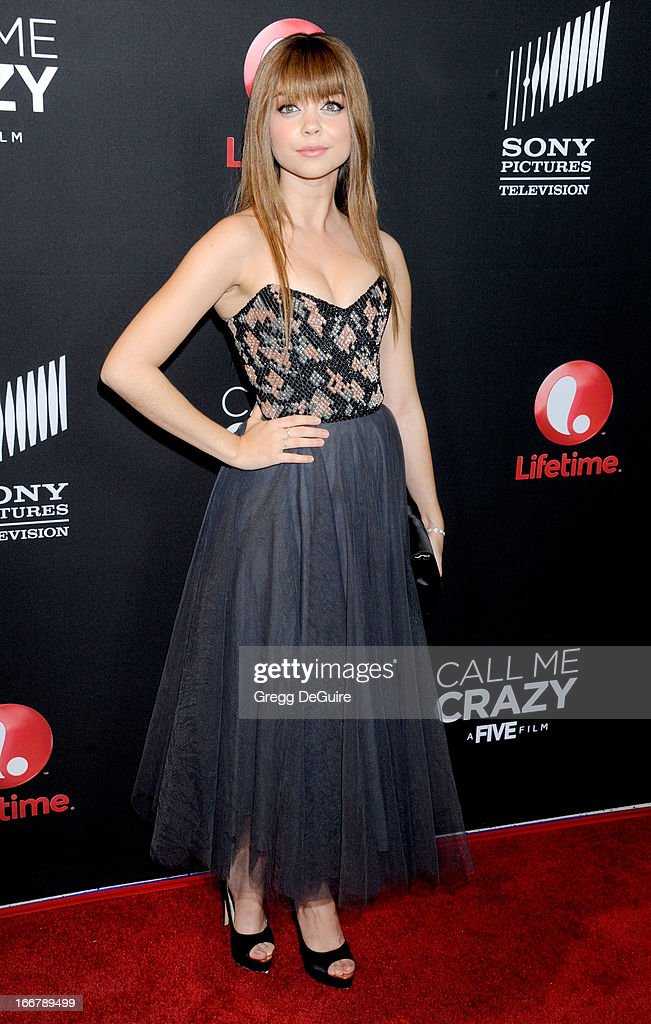 Actress Sarah Hyland arrives at the Lifetime movie premiere of 'Call Me Crazy: A Five Film' at Pacific Design Center on April 16, 2013 in West Hollywood, California.