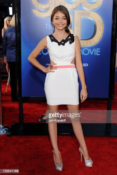 """Actress Sarah Hyland arrives at the Los Angeles Premiere """"GLEE: The 3D Concert Movie"""" at Regency Village Theatre on August 6, 2011 in Westwood,..."""