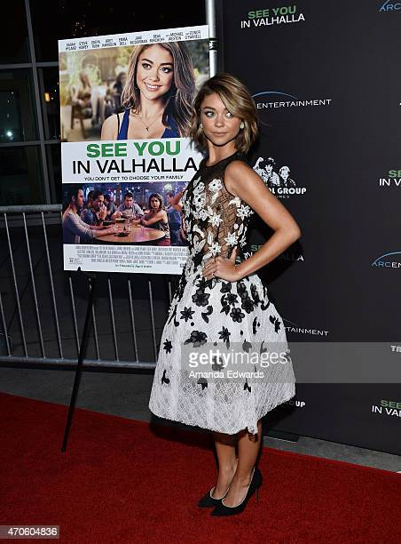"""Actress Sarah Hyland arrives at the Los Angeles premiere of """"See You In Valhalla"""" at the ArcLight Cinemas on April 21, 2015 in Hollywood, California."""