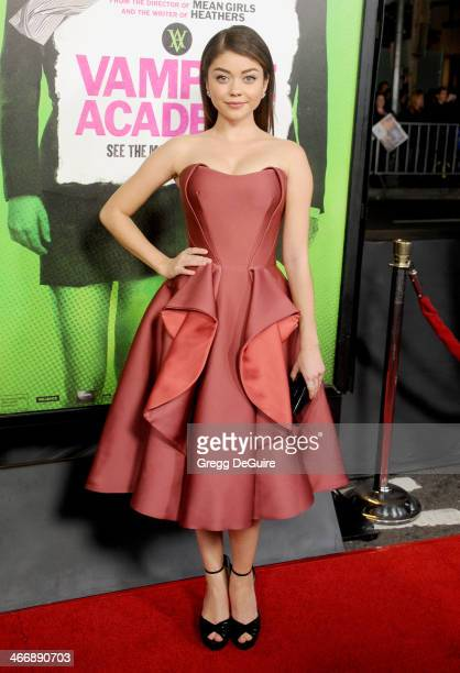 Actress Sarah Hyland arrives at the Los Angeles premiere of 'Vampire Academy' at Regal Cinemas LA Live on February 4 2014 in Los Angeles California