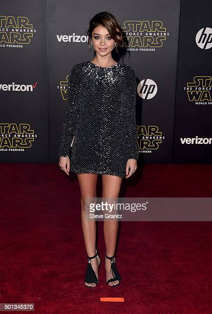 Actress Sarah Hyland arrives at the premiere of Walt Disney Pictures' and Lucasfilm's 'Star Wars The Force Awakens' at the Dolby Theatre TCL Chinese...