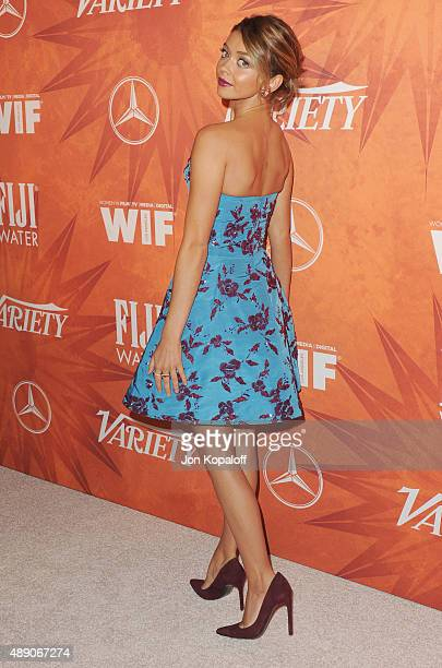 Actress Sarah Hyland arrives at the Variety And Women In Film Annual PreEmmy Celebration at Gracias Madre on September 18 2015 in West Hollywood...