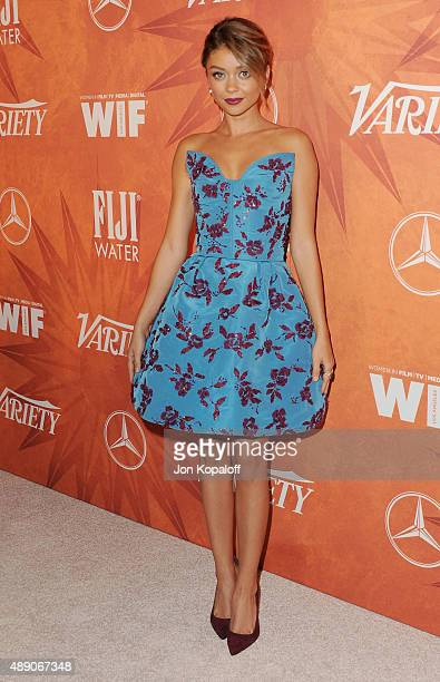 Actress Sarah Hyland arrives at the Variety And Women In Film Annual Pre-Emmy Celebration at Gracias Madre on September 18, 2015 in West Hollywood,...