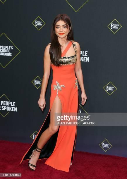 US actress Sarah Hyland arrives for the 45th annual E People's Choice Awards at Barker Hangar in Santa Monica California on November 10 2019