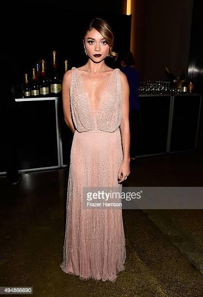 Actress Sarah Hyland attends amfAR's Inspiration Gala Los Angeles at Milk Studios on October 29 2015 in Hollywood California