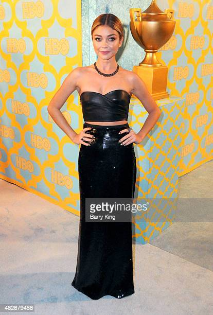 Actress Sarah Hyland attends HBO's post Golden Globe Awards party at The Beverly Hilton Hotel on January 11 2015 in Beverly Hills California