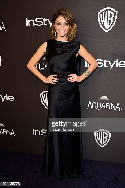 Actress Sarah Hyland attends InStyle and Warner Bros 73rd Annual Golden Globe Awards PostParty at The Beverly Hilton Hotel on January 10 2016 in...