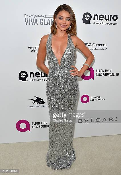 Actress Sarah Hyland attends Neuro at the 24th Annual Elton John AIDS Foundation's Oscar Viewing Party at The City of West Hollywood Park on February...