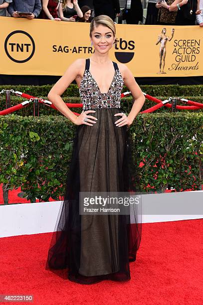 Actress Sarah Hyland attends the 21st Annual Screen Actors Guild Awards at The Shrine Auditorium on January 25 2015 in Los Angeles California