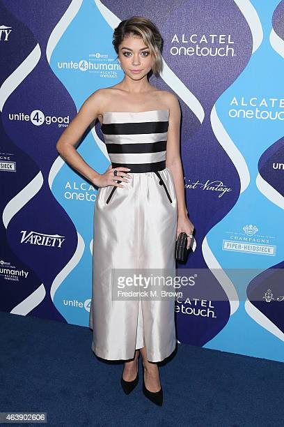 Actress Sarah Hyland attends the 2nd Annual unite4humanity Presented By ALCATEL ONETOUCH at the Beverly Hilton Hotel on February 19 2015 in Los...