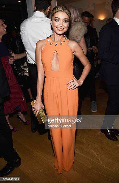 Actress Sarah Hyland attends the HFPA and InStyle Celebrate The 2015 Golden Globe Award Season and Miss Golden Globe at Fig Olive Melrose Place on...