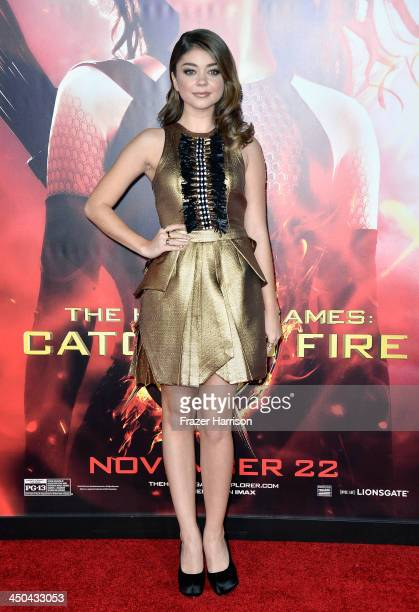 Actress Sarah Hyland attends the premiere of Lionsgate's The Hunger Games Cathching Fire at Nokia Theatre LA Live on November 18 2013 in Los Angeles...