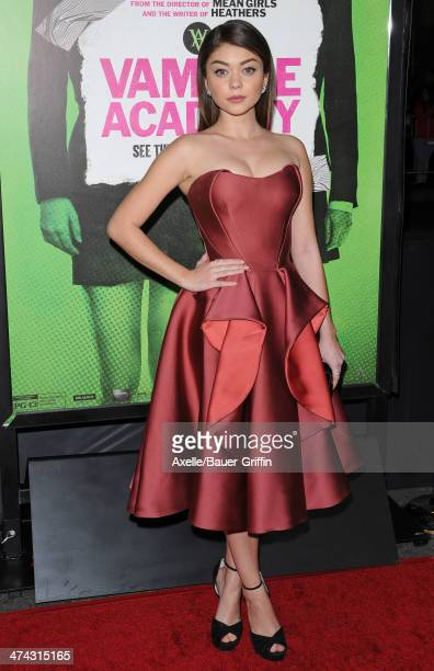 Actress Sarah Hyland attends the premiere of 'Vampire Academy' at Regal Cinemas LA Live on February 4 2014 in Los Angeles California