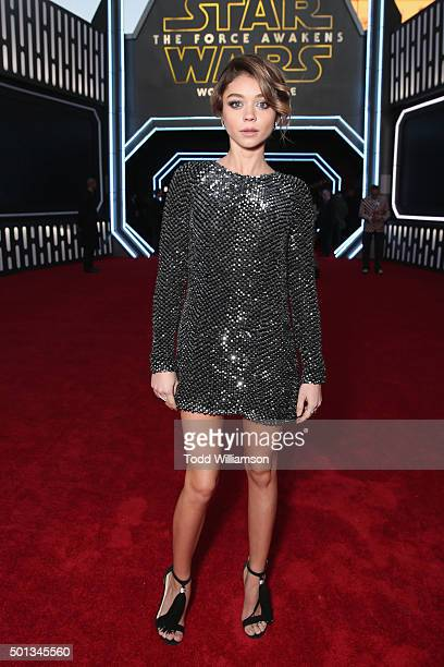Actress Sarah Hyland attends the premiere of Walt Disney Pictures and Lucasfilm's Star Wars The Force Awakens at the Dolby Theatre on December 14th...