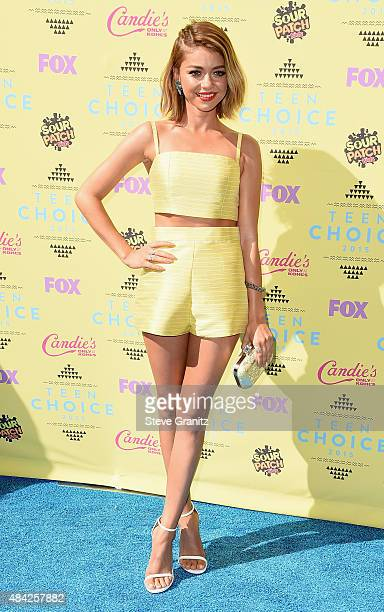 Actress Sarah Hyland attends the Teen Choice Awards 2015 at the USC Galen Center on August 16 2015 in Los Angeles California