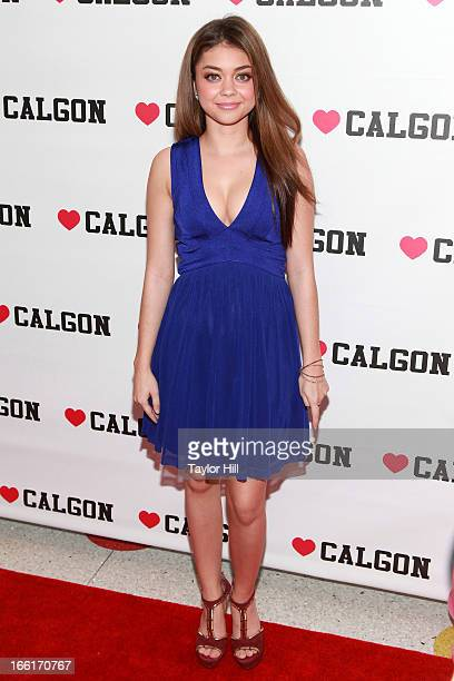Actress Sarah Hyland attends the unveiling of the new beauty campaign for Heart Calgon at Dylan's Candy Bar on April 9 2013 in New York City