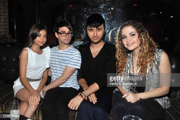 Actress Sarah Hyland designer Christian Siriano Brad Walsh and Masha attend Christian Siriano's Spring Summer Collection 2012 after party at The...