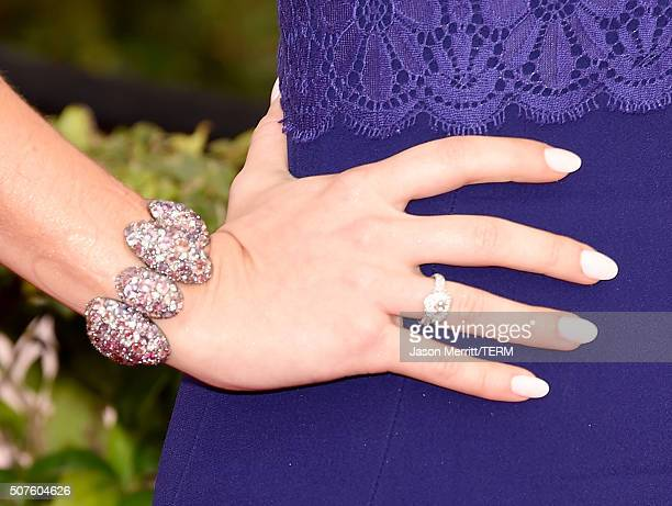 Actress Sarah Hyland jewelry detail attends The 22nd Annual Screen Actors Guild Awards at The Shrine Auditorium on January 30 2016 in Los Angeles...