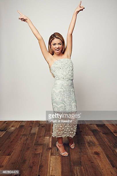 Actress Sarah Hyland poses during the The 41st Annual People's Choice Awards at Nokia Theatre LA Live on January 7 2015 in Los Angeles California