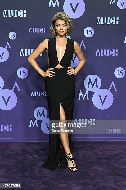 Actress Sarah Hyland poses in the press room at the 2015 MuchMusic Video Awards at MuchMusic HQ on June 21, 2015 in Toronto, Canada.