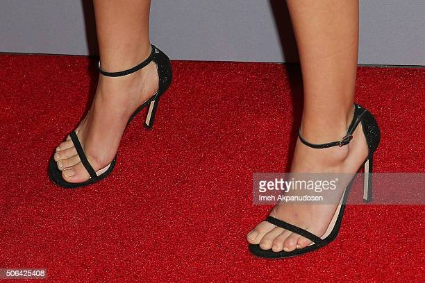 Actress Sarah Hyland shoe detail attends the Minnie Mouse 'Rocks The Dots' art and fashion exhibit on January 22 2016 in Los Angeles California