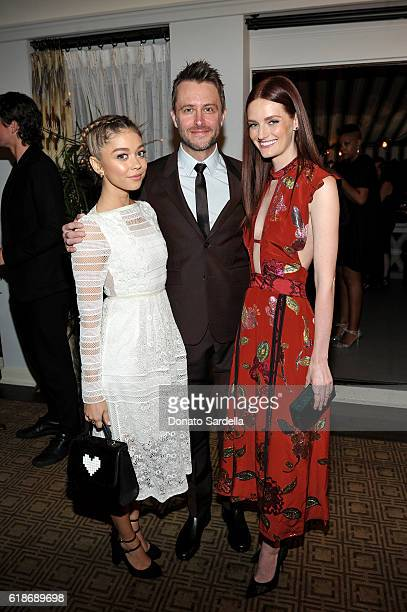 Actress Sarah Hyland wearing Burberry TV personality Chris Hardwick and actress Lydia Hearst wearing Burberry attend the Vanity Fair and Burberry...
