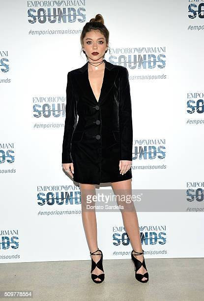 Actress Sarah Hyland wearing Emporio Armani attends Emporio Armani Sounds Los Angeles at NeueHouse Los Angeles on February 11 2016 in Hollywood...