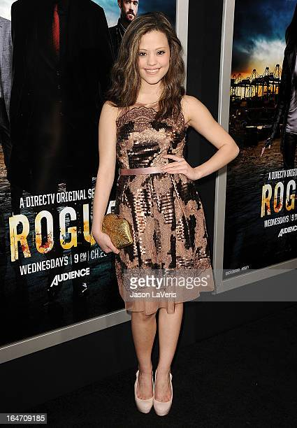 Actress Sarah Jeffery attends the premiere of 'Rogue' at ArcLight Hollywood on March 26 2013 in Hollywood California