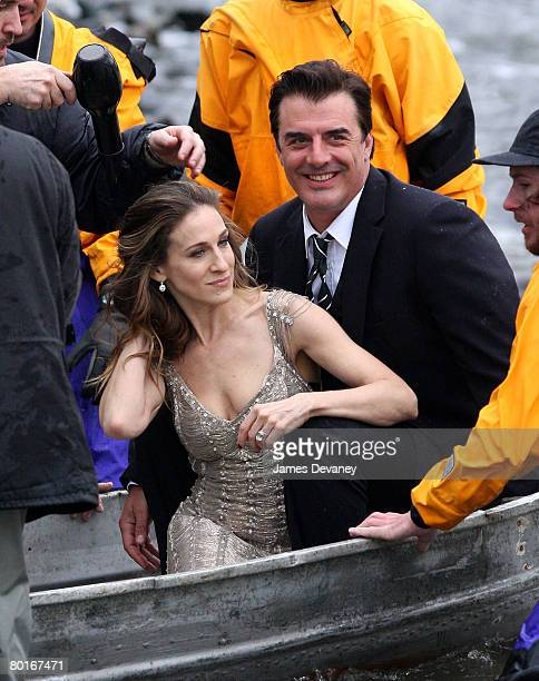 Actress Sarah Jessica Parker and actor Chris Noth on location for Annie Leibowitz's Vogue Sex and the City photo shoot on March 7 2008 in Brooklyn