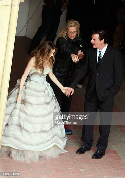 Actress Sarah Jessica Parker and actor Chris Noth sighting in Central Park on March 7 2008 in New York City