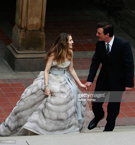 Actress Sarah Jessica Parker and actor Chris Noth sighting in Central Park on March 7, 2008 in New York City.