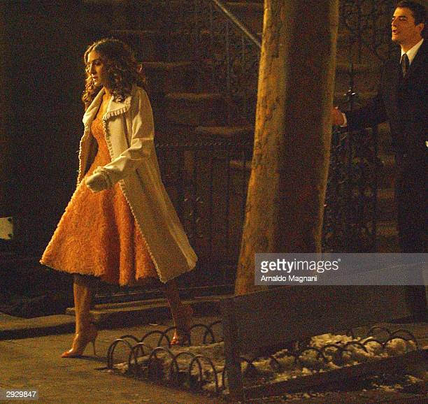 Actress Sarah Jessica Parker and actor Chris Noth work on set during the last day of filming for the final episode of 'Sex and the City' on Perry...