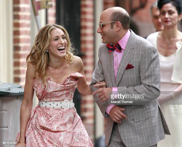 Actress Sarah Jessica Parker and actor Willie Garson sighting filming a scene for the movie Sex and The City on location in the west village on...