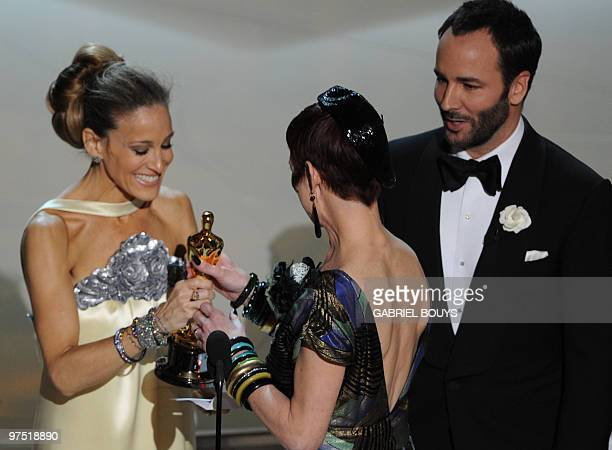 Actress Sarah Jessica Parker and designer Tom Ford present the award for Best Costume design to Winner Sandy Powell for �The Young Victoria� at the...