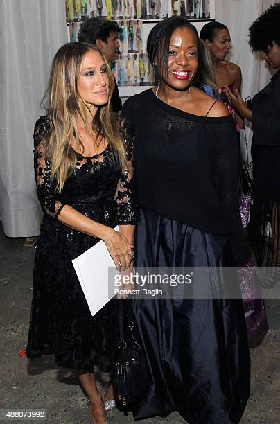 Actress Sarah Jessica Parker and designer Tracy Reese pose backstage at Tracy Reese S/S 2016 with SheaMoisture during New York Fashion Week at Art...