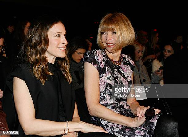 Actress Sarah Jessica Parker and editor Anna Wintour attend the Alexander Wang Fall 2009 during Mercedes-Benz Fashion Week at Roseland Ballroom on...
