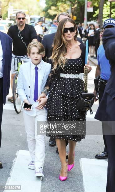 Actress Sarah Jessica Parker and her son James Wilkie Broderick are seen on September 7 2014 at Joan River's Funeral in New York City