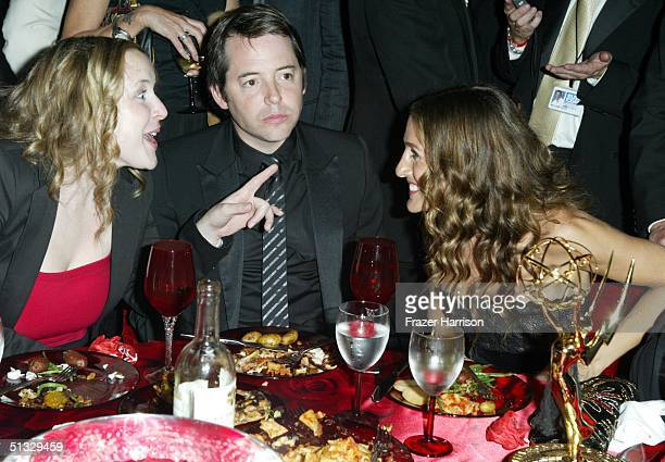 Actress Sarah Jessica Parker and husband actor Mathew Brodrick talk with a guest at the HBO post Emmy party following the 56th annual Primetime Emmy...