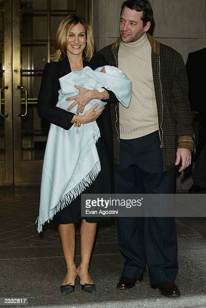 Actress Sarah Jessica Parker and husband actor Matthew Broderick leave Lennox Hill Hospital with their baby boy James Wilke Broderick in New York...