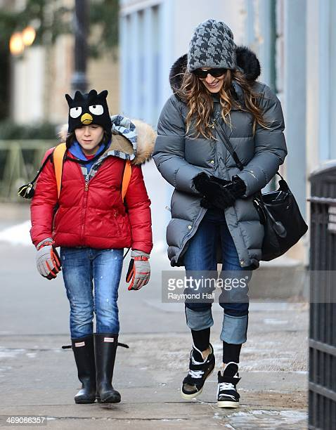 Actress Sarah Jessica Parker and James Wilkie are seen in Soho on February 12 2014 in New York City