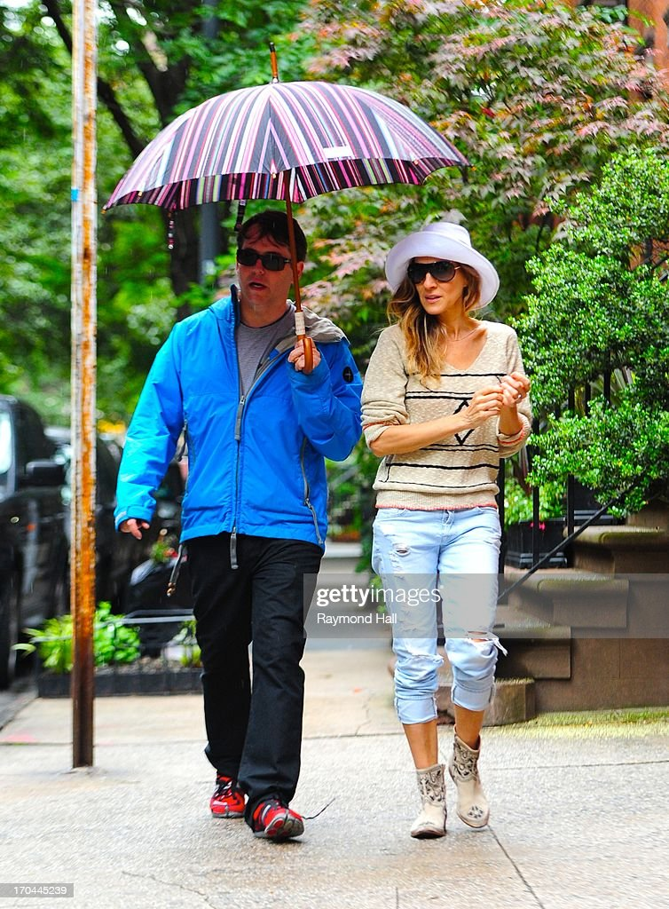 Actress Sarah Jessica Parker and Matthew Broderick are seen in Soho on June 13, 2013 in New York City.