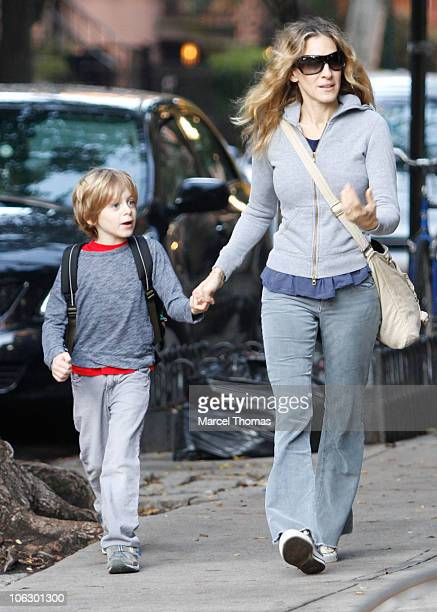 Actress Sarah Jessica Parker and son James Wilke Broderick are seen on the Streets of Manhattan on October 28 2010 in New York City