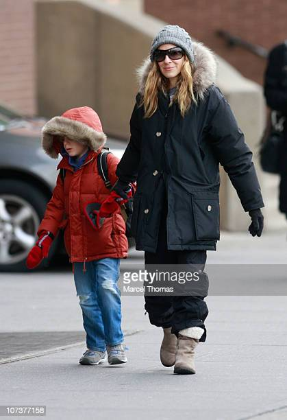 Actress Sarah Jessica Parker and son James Wilke Broderick are seen on the streets of Manhattan on December 7 2010 in New York New York