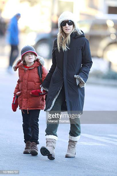 Actress Sarah Jessica Parker and son James Wilke Broderick are seen on the streets of Manhattan on January 5 2011 in New York City