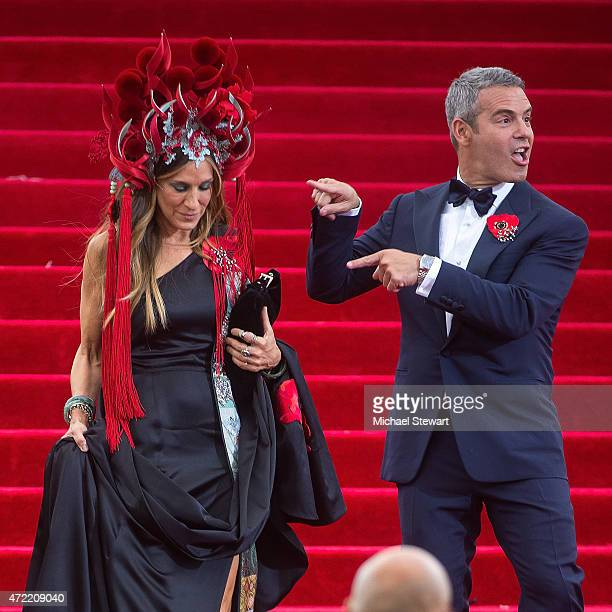 """Actress Sarah Jessica Parker and tv personality Andy Cohen attend the """"China: Through The Looking Glass"""" Costume Institute Benefit Gala at..."""