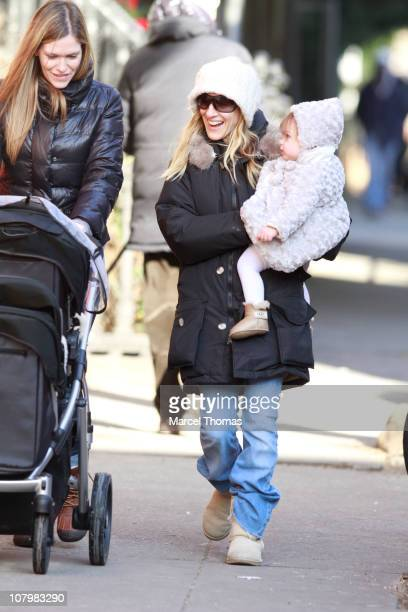 Actress Sarah Jessica Parker and twin daughters Marion and Tabitha Broderick are seen on the Streets of Manhattan on January 11 2011 in New York City